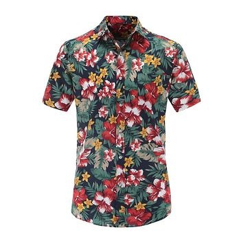 6f99c10a1e Jeetoo Summer Hawaiian Short Sleeve Shirt Men Cotton Flamingos F