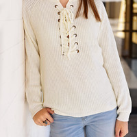 All Laced Up Sweater - Natural