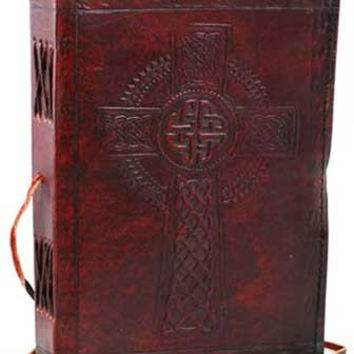 Celtic Cross Leather Covered Journal with Cord