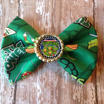 Hipster Turtle Bow geek nerd hair bow ninja style