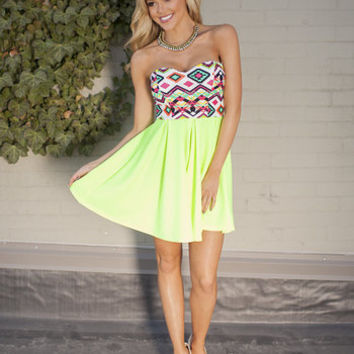 Tribal Print Tube Top Dress Neon Yellow