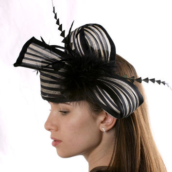 Elegant Cream and black headband fascinator hat, Ivory and black Melbourne Cup Royal Ascot and Kentucky derby hat, Haute Couture headpiece