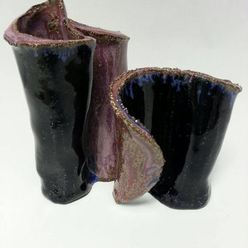 Unique Pottery Vase Set of Two, Earthy Vases Blue and Lavender by Michele Patton