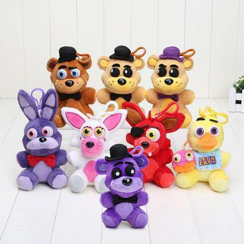 VONC1Y 14cm Five Nights At Freddy FNAF Freddy Fazbear Mangle Chica Bonnie Toys Plush Pendants Keychains Dolls