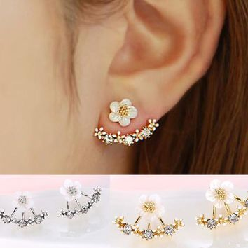 Crystal Stud Earrings Fashion Flower Earrings for Women