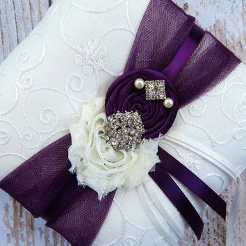 Ring Bearer Pillow / Plum Ring Bearer Pillow / YOU DESIGN / Ring Bearer Pillow / Deep plum Wedding pillow