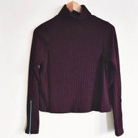 Hayley Maroon Ribbed High Neck Sweater