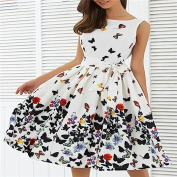 Sweet Women Swing Dresses Butterfly Print Pinup Prairie Chic Sleeveless High Waist Pleated Party Dress Plus size