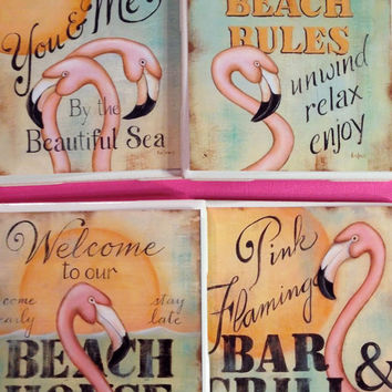 Beach house coasters, flamingo coasters, bar and grill, relax quotes, ceramic coasters, housewarming gift, beach house decor, pink coasters