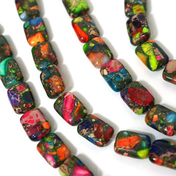 Mixed Impression Jasper / Colorful Gemstone Beads / 10mm x 14mm rectangle / HALF strand (978S)