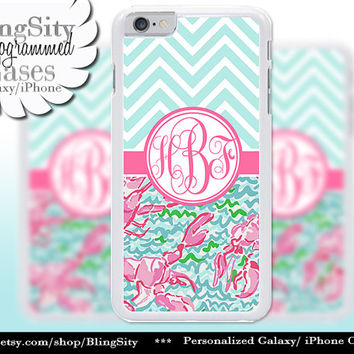 Monogram Lobsters Chevrons iPhone 5C 6 Case 6 Plus iPhone 5s 4 case Ipod 4 5 Touch Cover Aqua Pink Coral Pastels Personalized