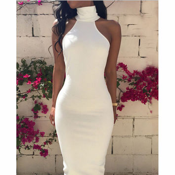 HIGH-NECKED SLEEVELESS BACKLESS DRESS