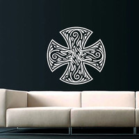 Celtic Cross Wall Decal Celtic Cross Decals Wall Vinyl Sticker Interior Home Decor Vinyl Art Wall Decor Bedroom SV5899