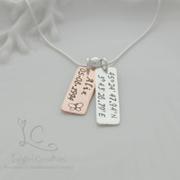 Personalized Necklace, Copper and Silver, Hand Stamped Necklace, Name Plate Necklace, Mommy Necklace, Kids Names, Rectangle Tags Necklace