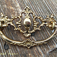 Antique 18th Century, Escutcheon Brass Back-plate, Drop Pull w Eye-Hole screws / MINT Restoration Hardware for Furniture