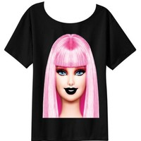 PINK BARBIE, BLACK TEE