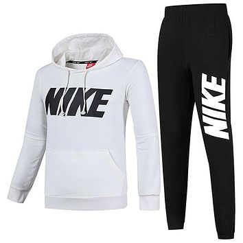 NIKE 2018 new plus velvet men's sports and leisure running clothes two-piece White