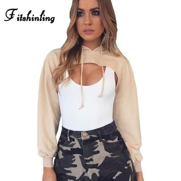 Fitshinling Hot sale 2017 cropped hoodies sweatshirts women clothing solid slim sexy pullover female cut out hooded sweatshirt