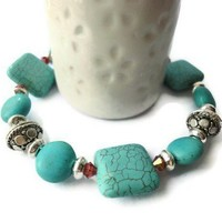 Square Turquoise Howlite Red Crystals Antique Silver Bracelet