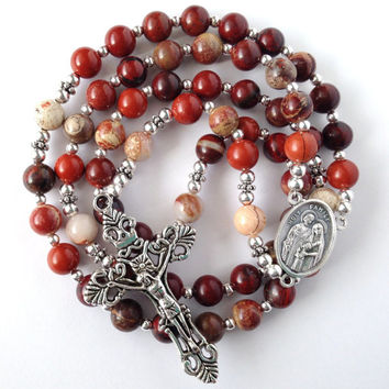 Rainbow Jasper Rosary, Rainbow Jasper Beads, Catholic Rosary, Holy Family, Silver Crucifix, Red Rosary, Catholic Prayer Beads