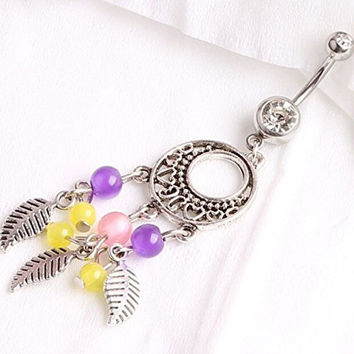 Sunshinesmile 316l Surgical Steel Dream Catcher Naval Ring Piercing Barbell Belly Button Piercing Jewellery