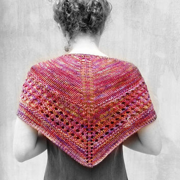 Hand Knitted Mottled Red Wool Scarf Capelet in Malabrigo yarn