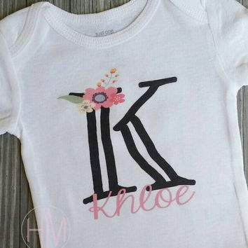 Floral Monogrammed Baby Shirt - Baby Shower Gift