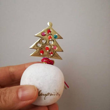 Christmas tree sculpture, miniature brass tree on a marble base, mini, golden Xmas tree with colourful baubles, Christmas tree art object