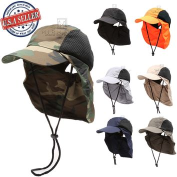 MIRMARU Men and Women's Summer Outdoor Sun Protection Safari Bucket Hat Cap