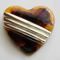 Vintage Faux Amber Gold Tone Heart Brooch * Jewelry * Jewellery