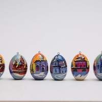 Russian wooden Christmas ornaments toys eggs 6 pc Free Shipping plus free gift!