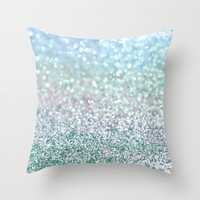 Blue Mist Snowfall Throw Pillow by Lisa Argyropoulos