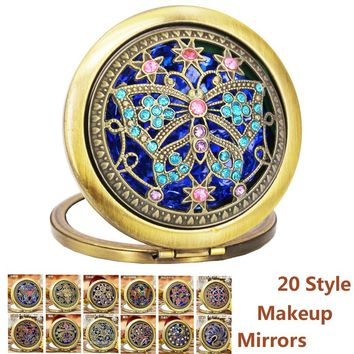 Women Fashion Vintage Hollow Out Mini Makeup Mirror Two-Sided Folded Beauty Pocket Compact Mirror Pocket Hand Mirrors