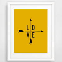 Mustard Yellow Wall Art, Printable, Love Poster Arrow Print, Typography, Autumn Trends, Modern Home Decor, Instant Download 8x10 inch