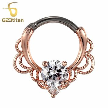 G23titan 2018 Rose Gold Color Lacey Crystal Septum Ring Rook Clicker Nose Ring Titanium Shaft Body Piercing Jewelry