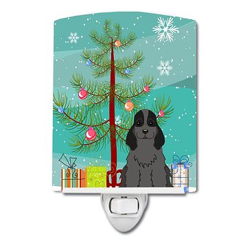 Merry Christmas Tree Cocker Spaniel Black Ceramic Night Light BB4217CNL