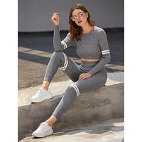 Side Stripe Crop Sweater & Sweater Pants