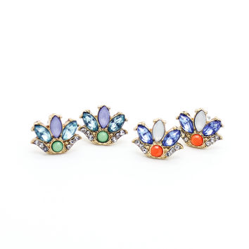 Flower stone earrings