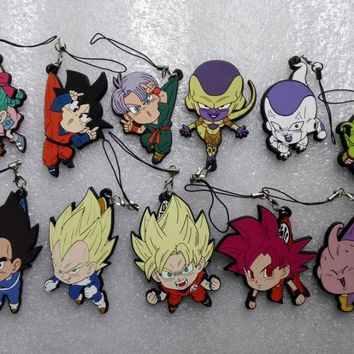Anime Dragon Ball Z pvc figure toy Goku Vegetto ChiChi kuririn Vegeta Gohan phone strap/Keychain pendant toys gifts