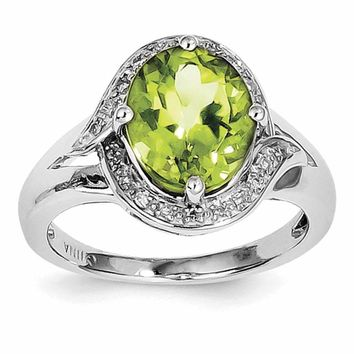 Sterling Silver Rhodium Diam. and Peridot Oval Ring