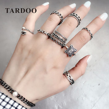 Tardoo 925 Sterling Silver Mix Match Rings for Women Classic Plants & Heart Rings Sets Fashion Punk Style Brand Fine Jewelry