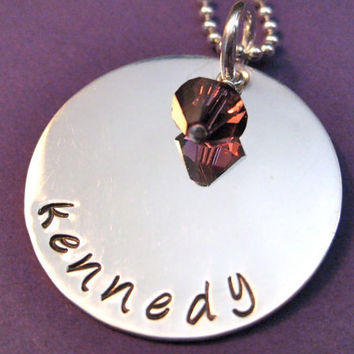 """Hand-stamped Birthstone Name Necklace in Sterling Silver 1"""" with Swarovski Birthstone  - great for moms or grandmas"""