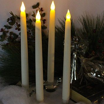 Set of 4 Flameless Candles with Timer Ivory Wax and Amber Yellow Flame