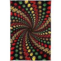 Handmade Cotton 3D Cheech & Chong Rasta Spiral Tapestry Tablecloth Spread 60x90 Inches