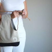 Yarn Bag, Knitting Bag, Knitter's gift, Linen Wristlet