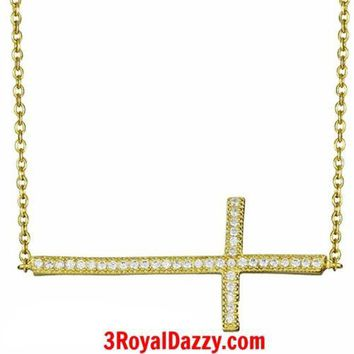 """Sterling Silver Sideways Cross Celebrity Pendant Necklace with Extender 16""""- 18"""""""
