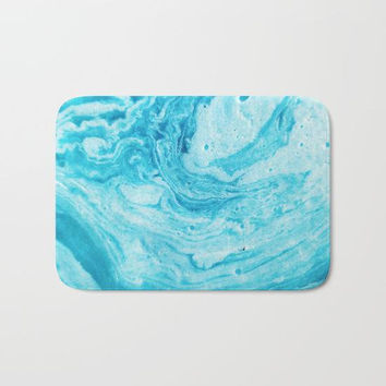 Blue Shower Mat, Blue Bathroom Mat, Aqua Blue Bath Mat, Blue Bathroom Decor, Abstract Bath Mat, Pretty Shower Mat, Dorm Bathroom, Blue Bath