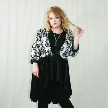 Kimono with Black & White Patterned Top and Velvet High-Low Skirt