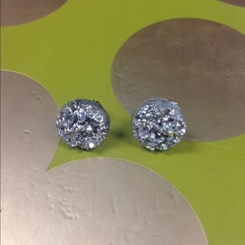 Silver Metallic Druzy stud earrings