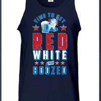 Time To Get Red White and Boozed Tank Top 4th of July Fourth America workout American Merica Patriotic Mens Womens Summer Gift MLG-1038FIA